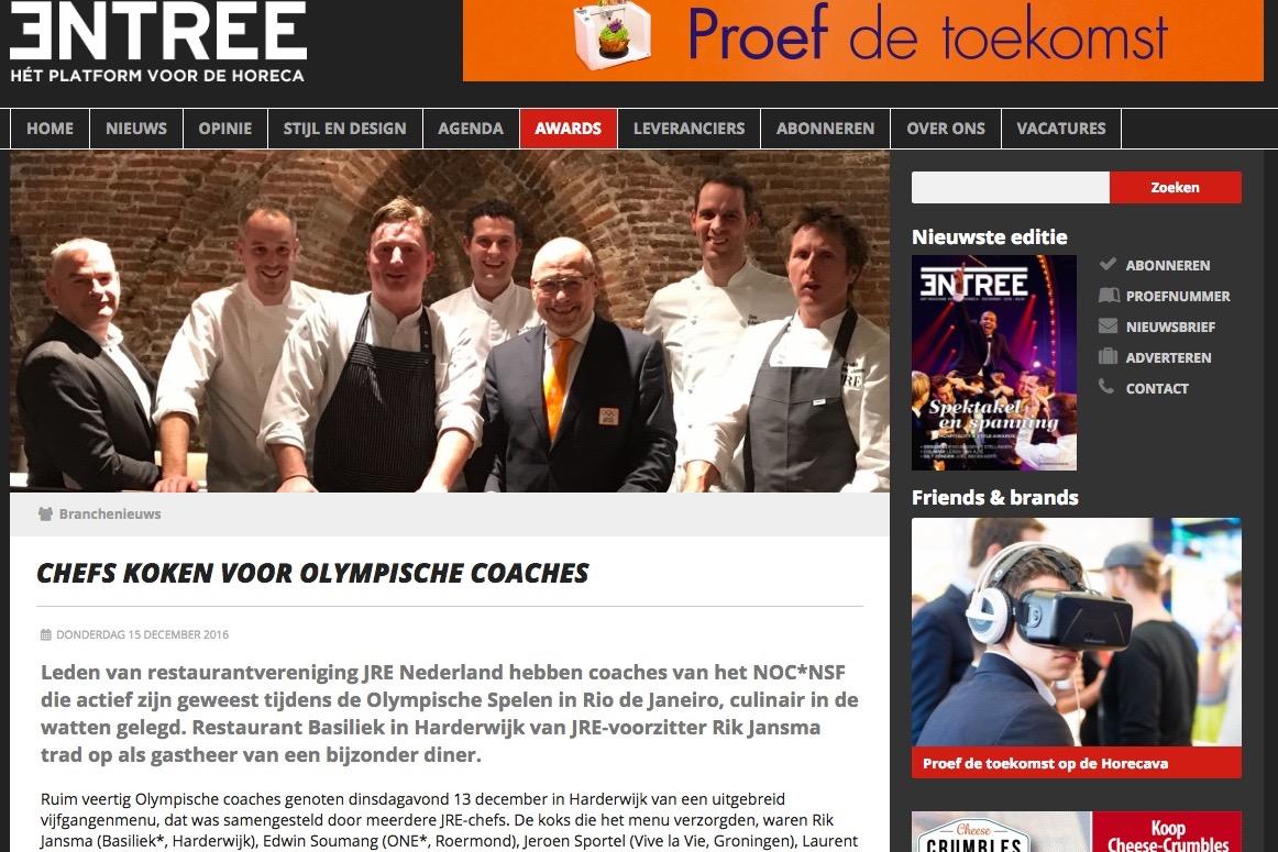 Chefs van JRE Nederland in actie voor NOC*NSF op EntreeMagazine.nl