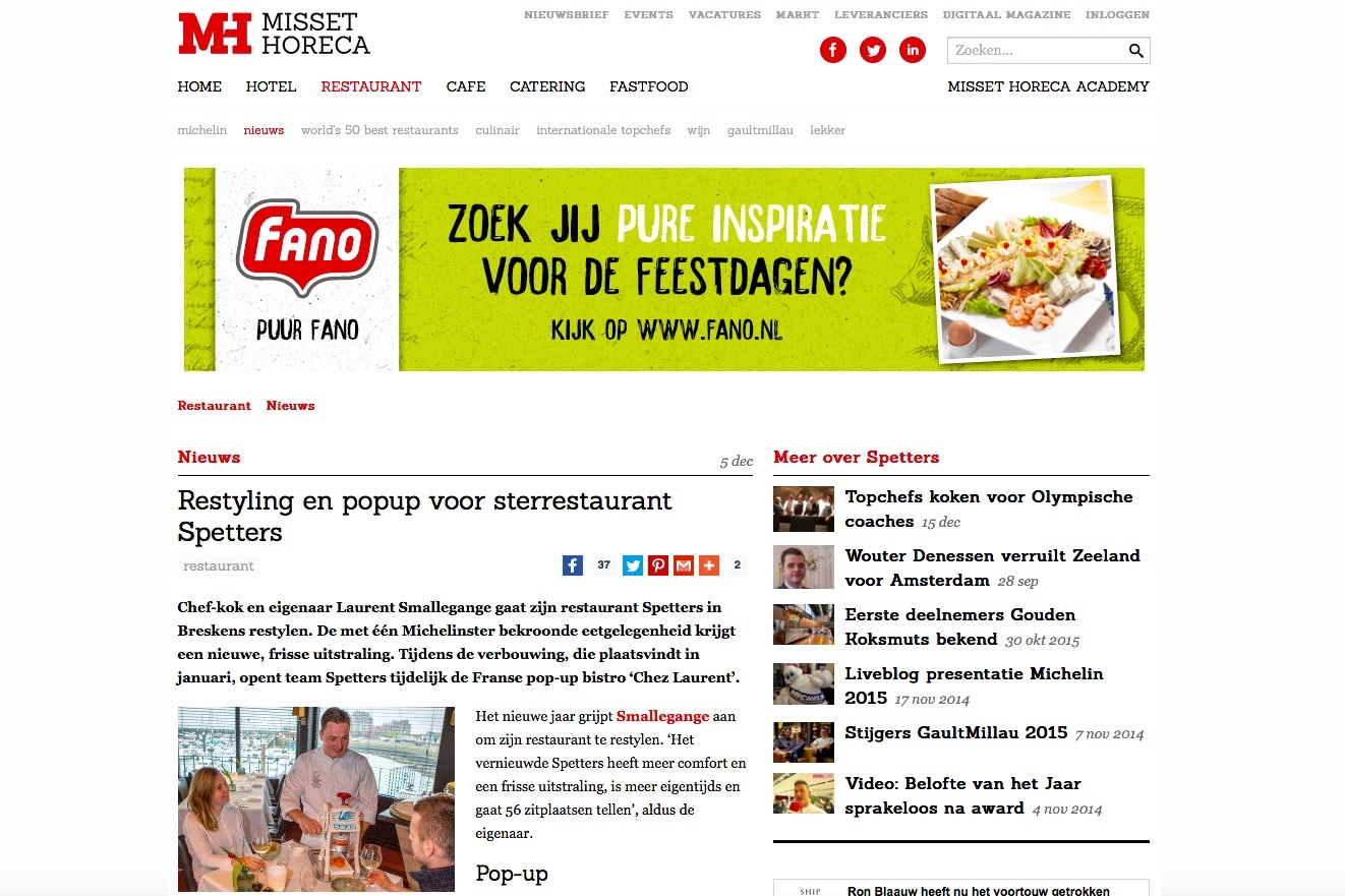Verhuizing en pop-up Spetters in Breskens op MissetHoreca.nl.